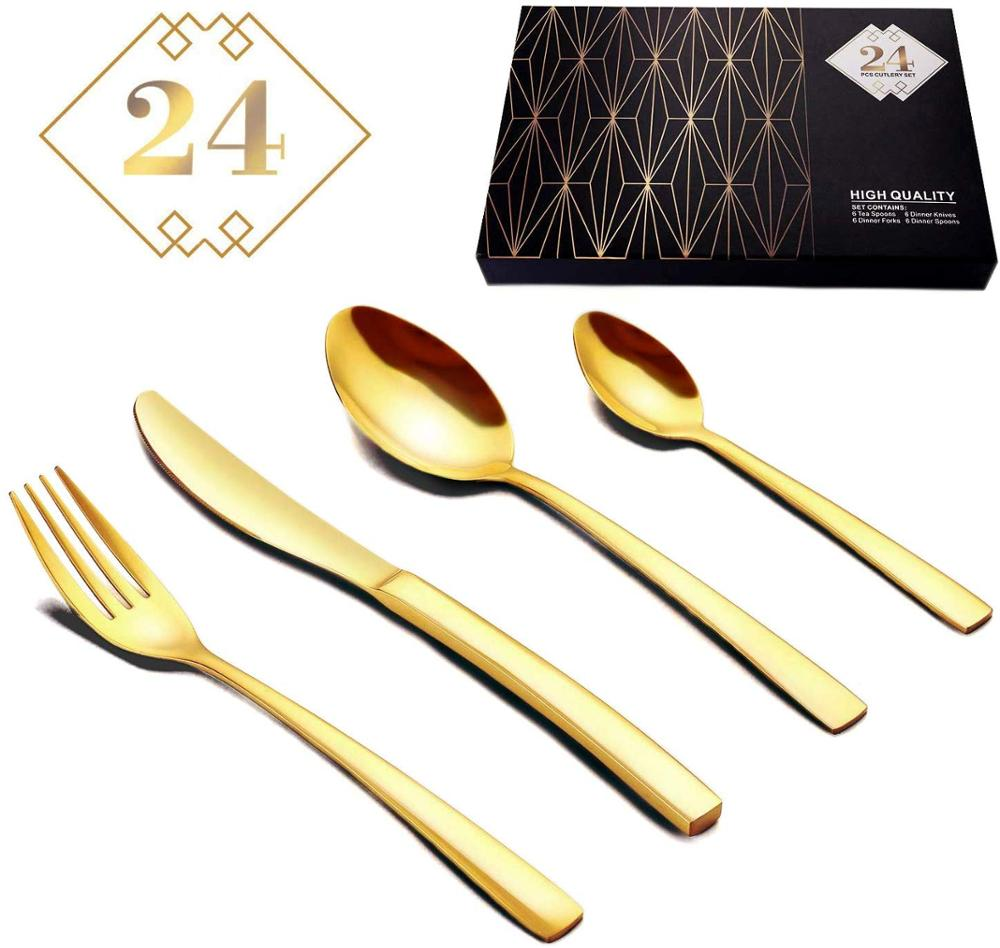 24PCS Tableware Gold Cutlery Set Cutlery Dinner Set Dishes Knives  Forks Spoons Western Kitchen Dinnerware Stainless Steel HomeDinnerware  Sets