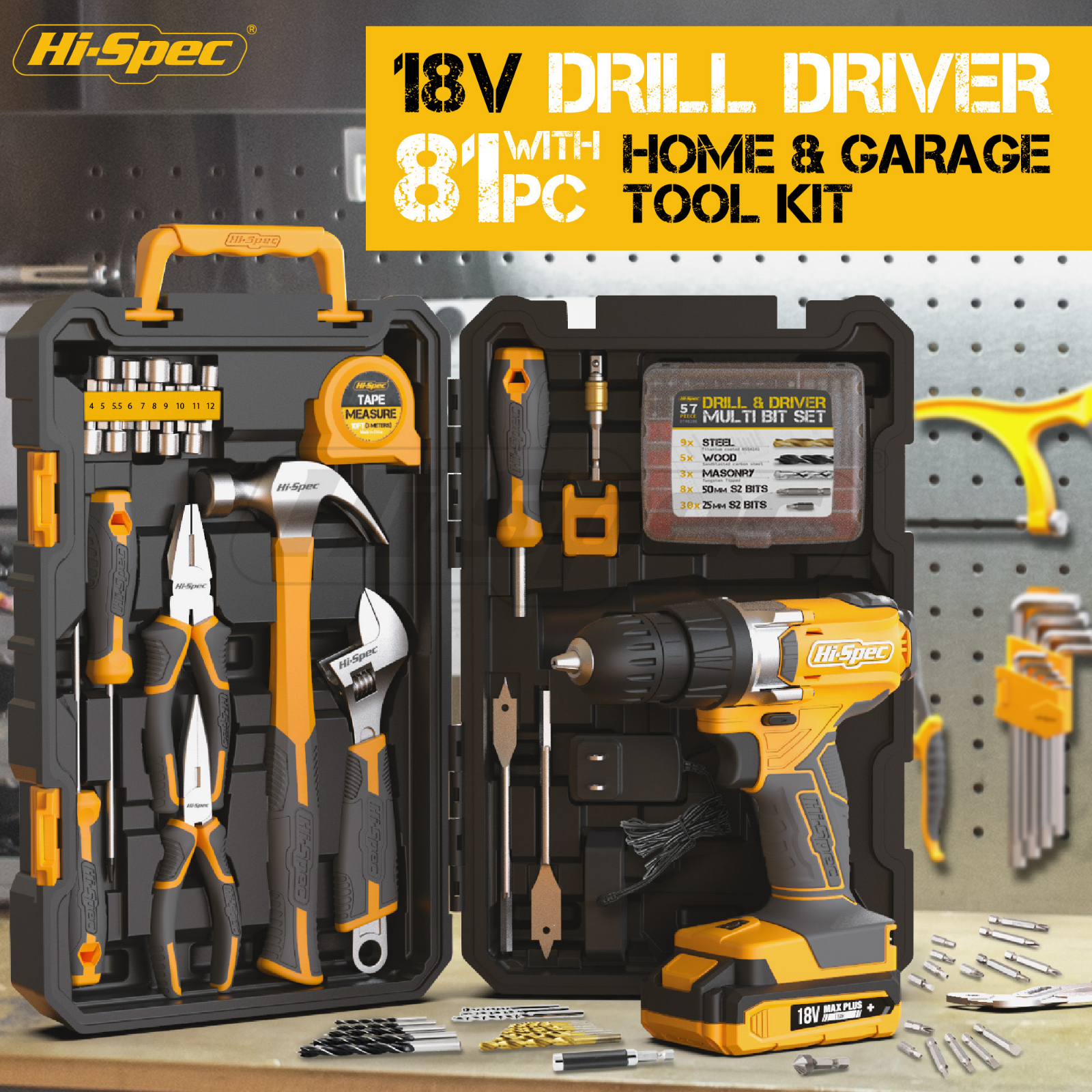Hi-Spec 81pc Complete Hand Tool Sets 18V Electric Screwdriver Drill Driver Workshop Tool Kit for Home with Drill Bits Tool Box