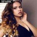SPARK эффектом деграде (переход от темного к выделить объемная волна 4x4 кружева закрытие парик 30 32 дюймов 180% Плотность бразильские волнистые в...