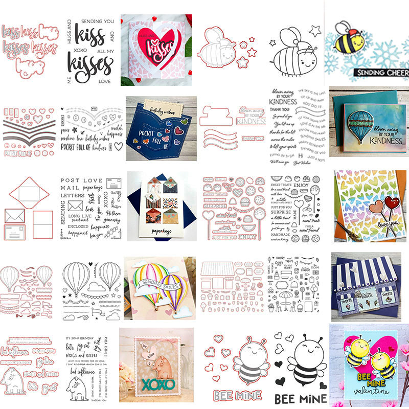 Bees Pig Envelope Hearts Hot Air Balloon House Phrases 2020 New Cutting Dies And Stamps Set For DIY Scrapbooking Crafts Cards