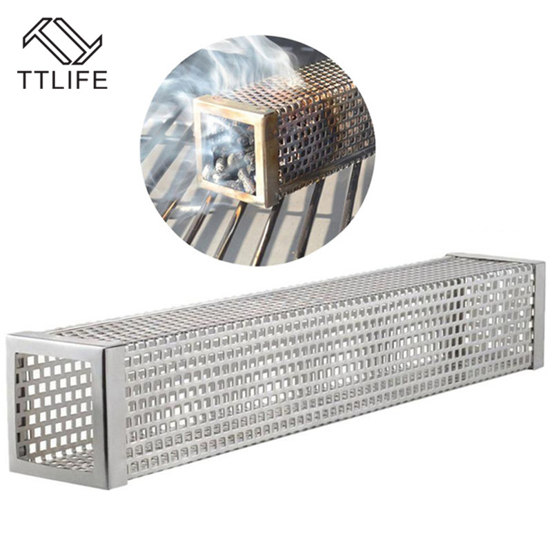TTLIFE BBQ Grill Smoking Mesh Tube Stainless Steel Smoke Generator Wood Pellet Cube Smoker Box Kitchen Outdoors Camping Tools image