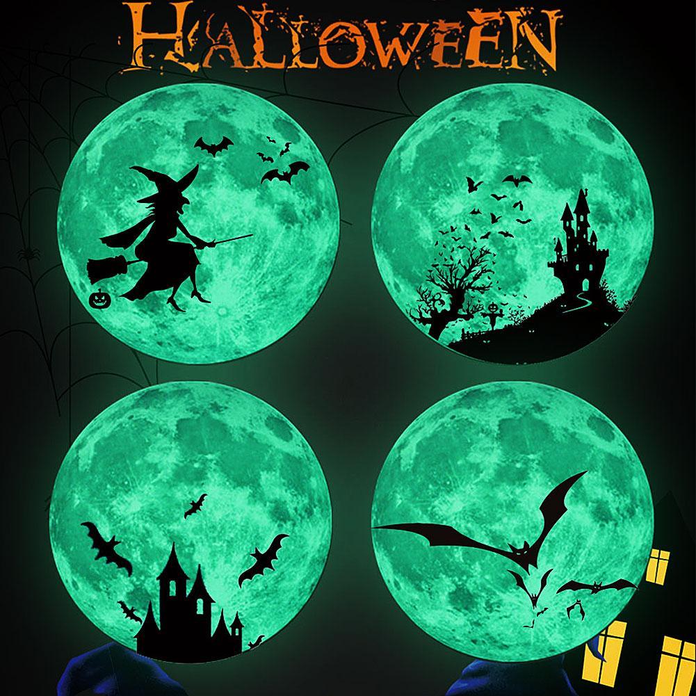 30cm Round Halloween Moon Castle Bats Fluorescent Glow in Dark Luminous Wall Stickers For Kids Room Decor Art Decals Wallpaper