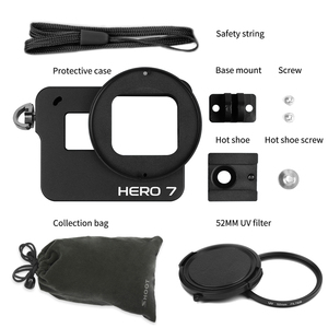 Image 5 - Ateş CNC alüminyum alaşım koruyucu kılıf kafes dağı GoPro Hero için 7 6 5 siyah 52mm UV Lens ile git Pro Hero 7 6 5 aksesuar