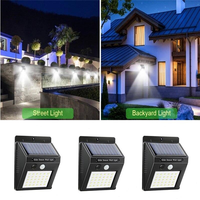 20/100 led solar led luz ao ar livre pir sensor de movimento à prova dwaterproof água lâmpada rua portão corredor luz parede decoração do jardim ao ar livre