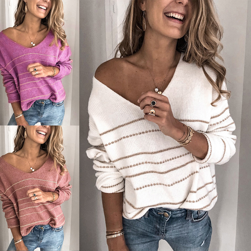 Autumn And Winter Stitching Sweater Striped V-neck Sweater Shirt Women Sweaters Pullover Women Sweater