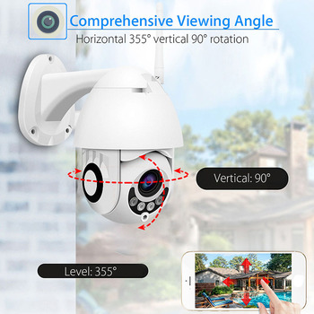 Cloud 1080P Wifi PTZ Camera Outdoor 2MP Auto Tracking CCTV Home Security IP Camera 5X Digital Zoom Speed Dome Camera Siren Light