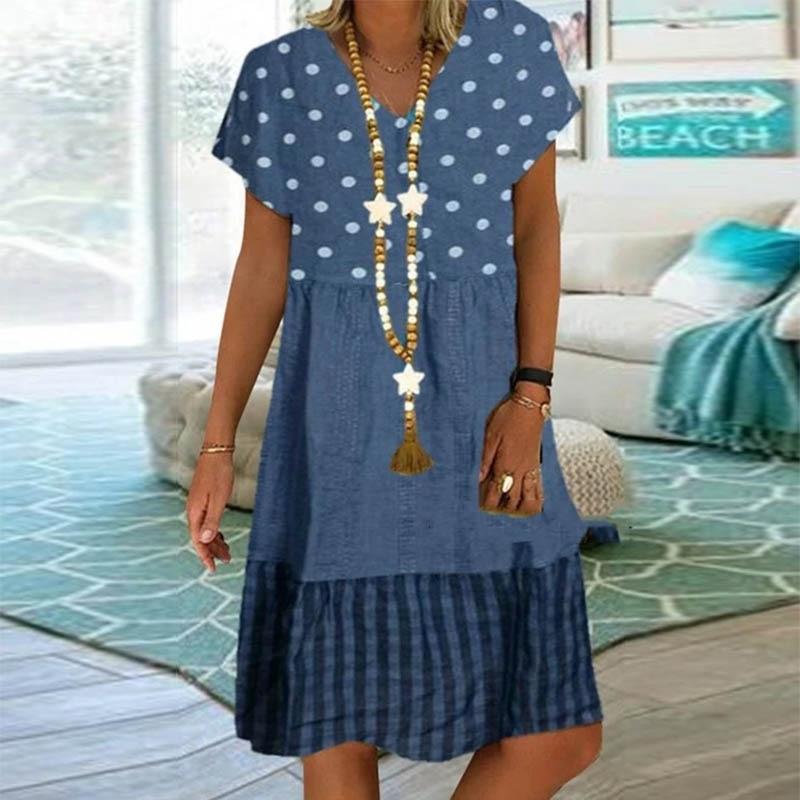 vestido estampado vintage de bolinhas e xadrez,