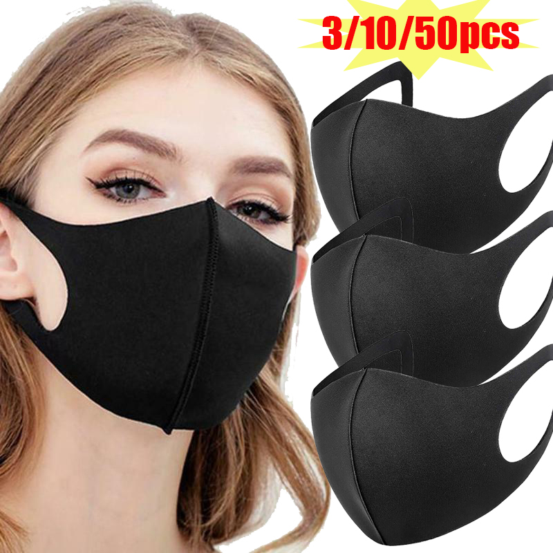 Breathable Cotton Black Mouth Mask Anti Dust Masks Women Men Mouth Face Mask Cover For Outdoor  Cottom Mask Mouth Black