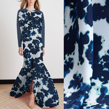 112CM Wide 12MM Print Blue Silk Crepe de Chine Fabric for Summer Dress Jacket Pants C046