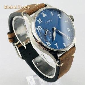 Image 2 - Corgeut Reloj de 44mm para hombre correa de cuero con carcasa plateada, 17 joyas, cuerda mecánica 6497, movimiento manual, reloj deportivo luminoso