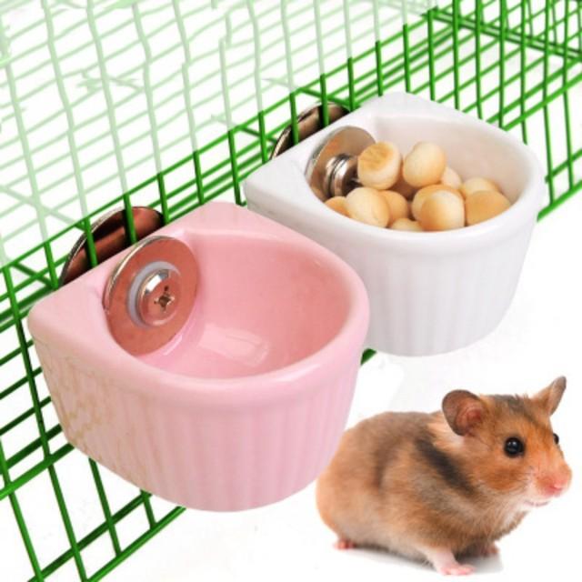 Pet  Water Food Feeder Mini Anti-overturned Food Bowl Feeding Dish Hamster Parrot Food Bowl Small Animal Cage Bowl AXIR 2