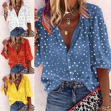 2021 spring and autumn new women's dress Polka dot snowflake print three-quarter sleeves V-neck button ladies shirt