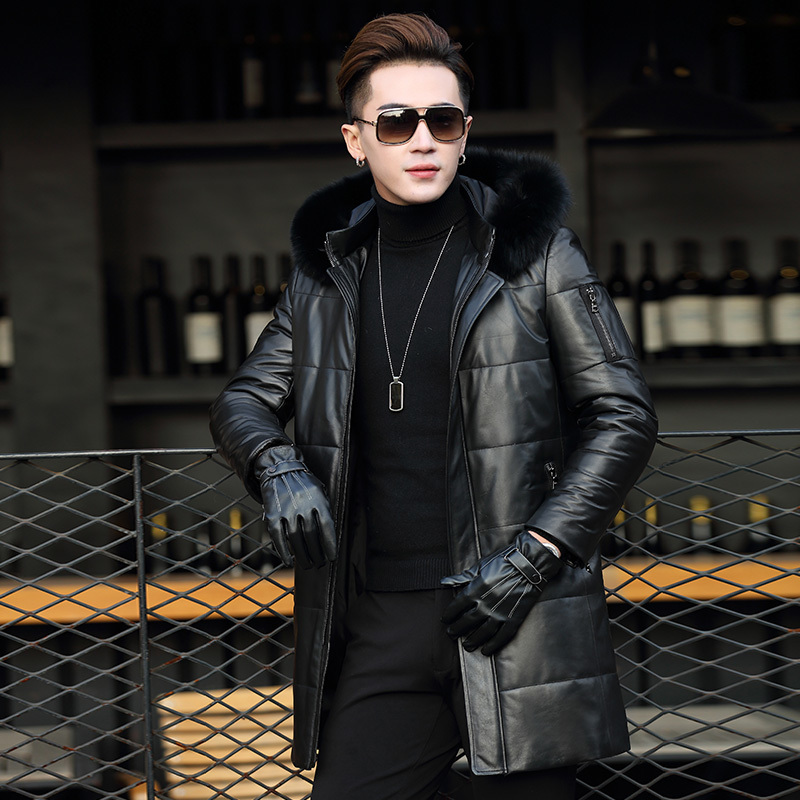 Men's Sheepskin Coat Genuine Leather Winter Duck Down Jacket Men Fur Collar Hooded Long Coat Men Jacket Y2001 YY300