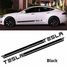 For Tesla Model 3/X/S 2Pcs Car Long Side Door Stickers Auto Vinyl Film Decals Styling Automobile Car Tuning Accessories carcardo 40cm x 200cm car headlight taillight tint vinyl film sticker car smoke fog light viny stickers decals car styling
