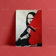 Whitewash rouge peinture Mona Lisa toile Hd imprime photos mur oeuvre peinture décoration de la maison modulaire affiche salon encadré