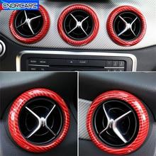 Carbon Fiber Color Air Conditioning Vent Circle Decoration For Mercedes Benz A W176 B W246 GLA X156 CLA C117 Class 2013 2018