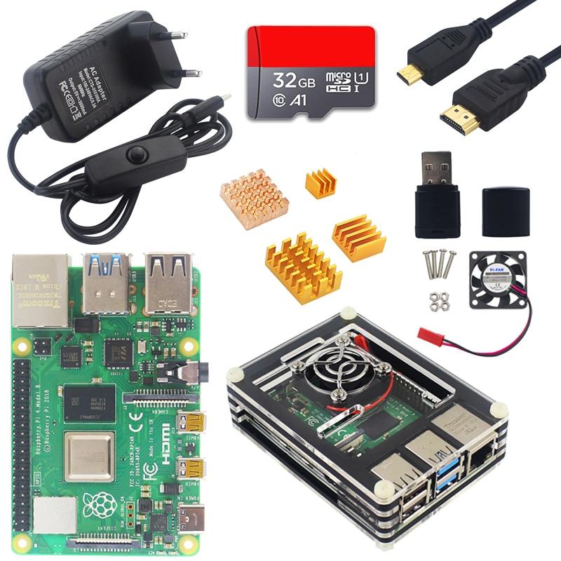 Raspberry pi 4 modelo b starter kit 1g 2g 4g ram 2.4g & 5g wifi bluetooth 5.0 micro hdmi 4 k + caso fonte de alimentação raspberry pi 4b
