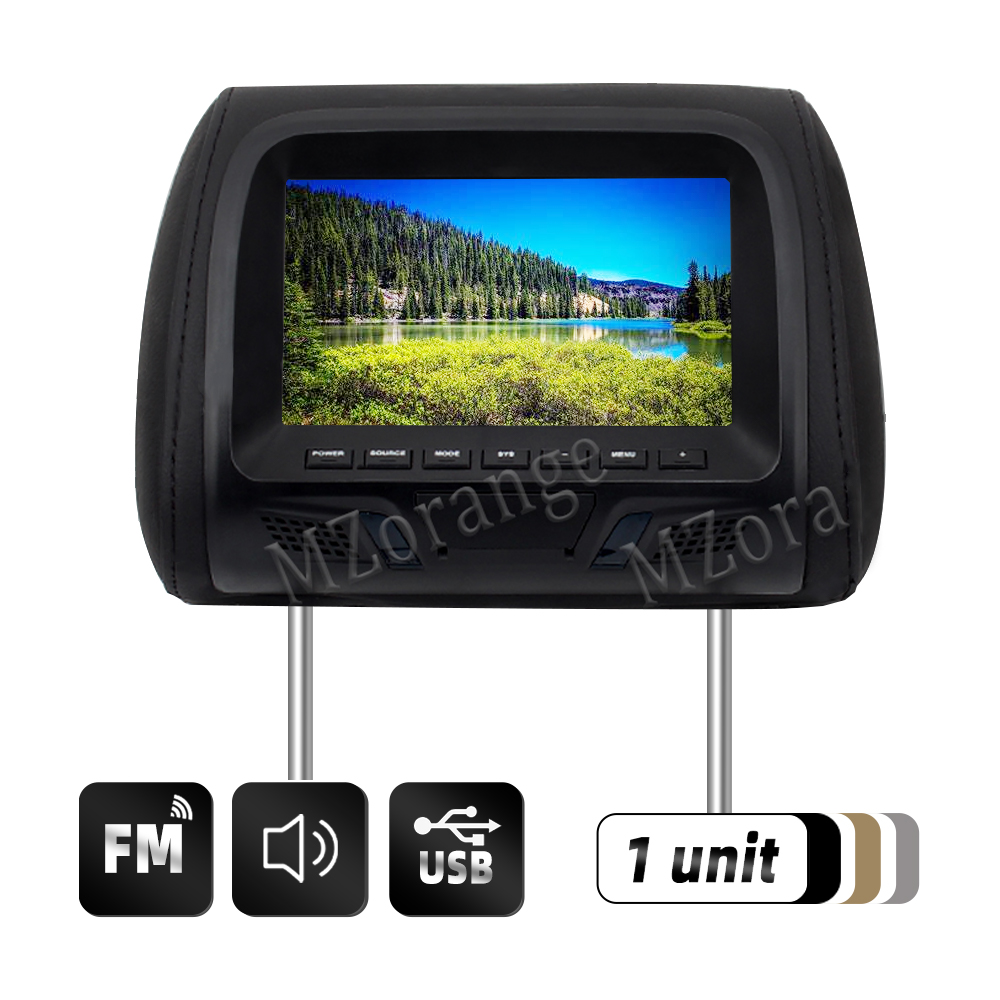 Car Screen Car Headrest Monitor 7 Inch Headrest With Monitor 1 Pc Car Tv Car Display Headrest With Screen Black AV USB SD MP4