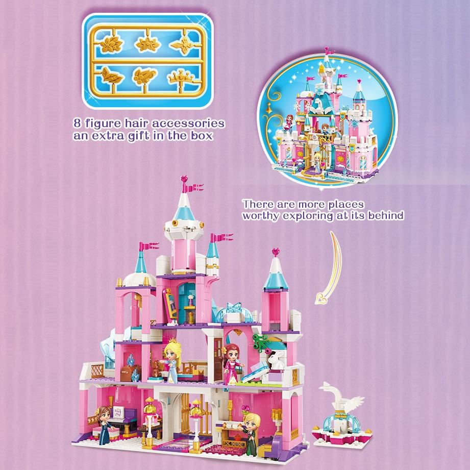 Qman Magical Swan Snow World Series Ice Castle Snowflake Set Girls Building Blocks Construction Bricks Action Toys Figures