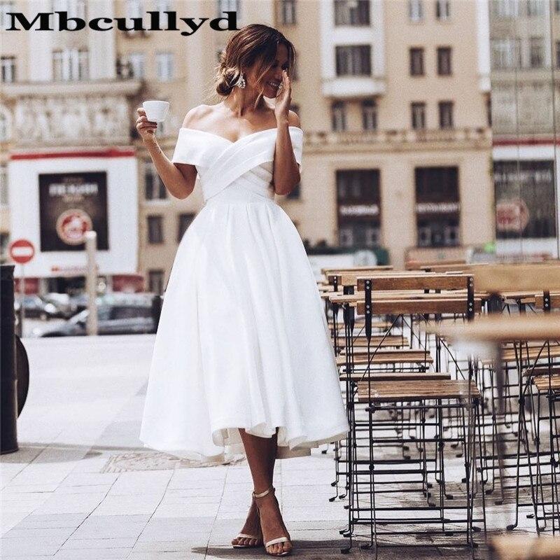 Mbcullyd Glamorous Off Shoulder Wedding Dress 2020 New Fashion Tea Length Beach Bridal Gowns Short Backless Vestido De Noiva