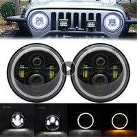 For Nissan Patrol Y60 Hummer H1&H2 7inch LED Angle Eye Headlights Defender Driving Lamps For Jeep Wrangler TJ JK LJ CJ|Car Headlight Bulbs(LED)| |  -