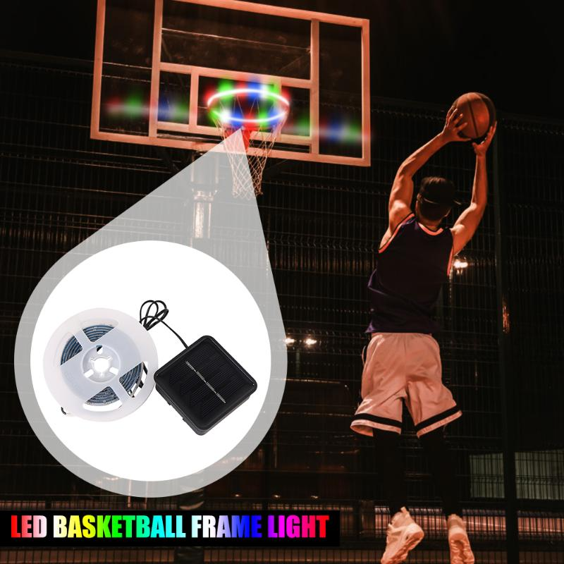 1 PCS LED Basket Hoop Solar Basketball Rim Playing At Night Shooting Accessories Attachment for Kids Adult Ball Sport 1