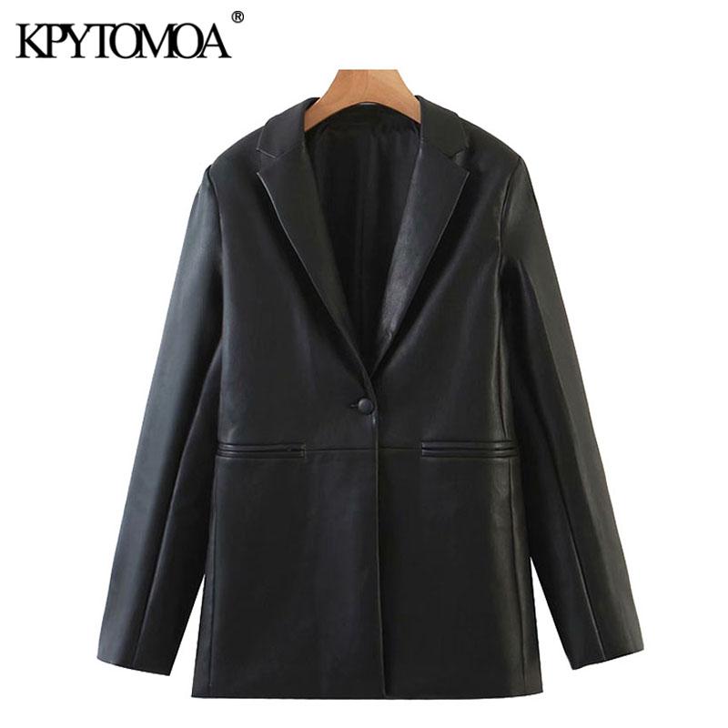 KPYTOMOA Women 2020 Fashion Faux Leather Single Button Blazers Coat Vintage Long Sleeve Pockets Female Outerwear Chic Tops