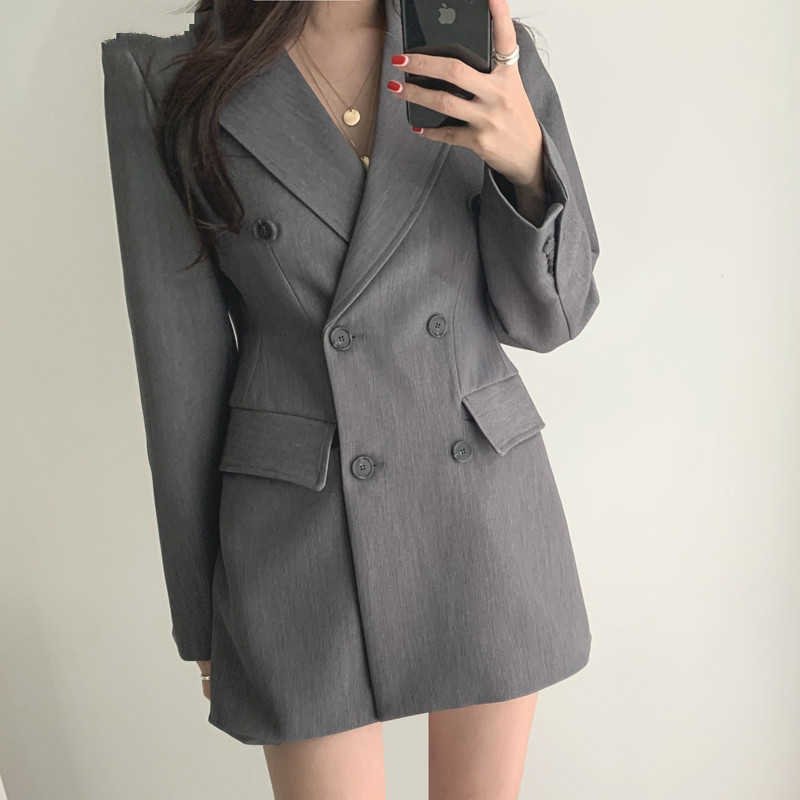 Drop Shipping Double-breasted Long Sleeve Female Suit Jackets Gray Notched Collar OL Blazers Women Office Ladies Suit Blazer