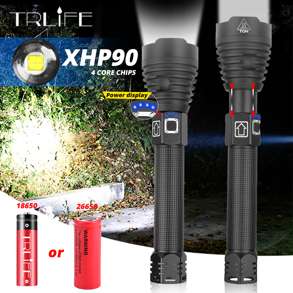XHP90 18650 26650 Flashlight LED XHP70.2 Zoom Torch Camping Lamp Most Powerful USB Rechargeable XHP50 Tactical Light