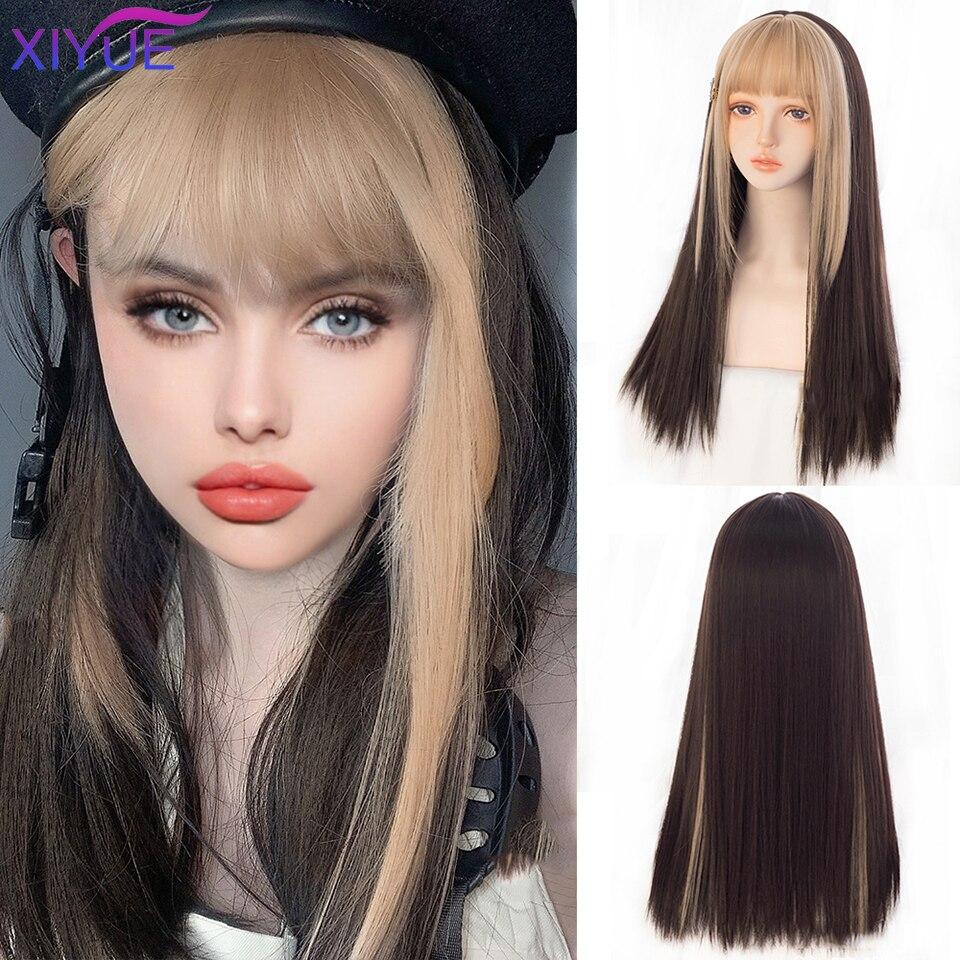 Черный длинный прямой парик XIYUE для женщин, с обе стороны, золотые волосы с челкой, термостойкий волнистый парик для косплея для девушек