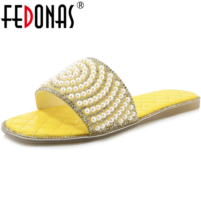 FEDONAS Pearl Decoration Half Slippers Women Sandals 2020 New Flat Heels Summer Shoes Woman Sweet Comfortable Shoes Woman