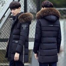 Parka casaco masculino jaqueta de inverno fino grosso casaco com capuz de pele quente médio longo algodão acolchoado