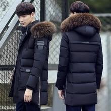 Parka męska kurtka zimowa męska slim gruby futro z kapturem płaszcz ciepła średnia długa kurtka wyściełana bawełną
