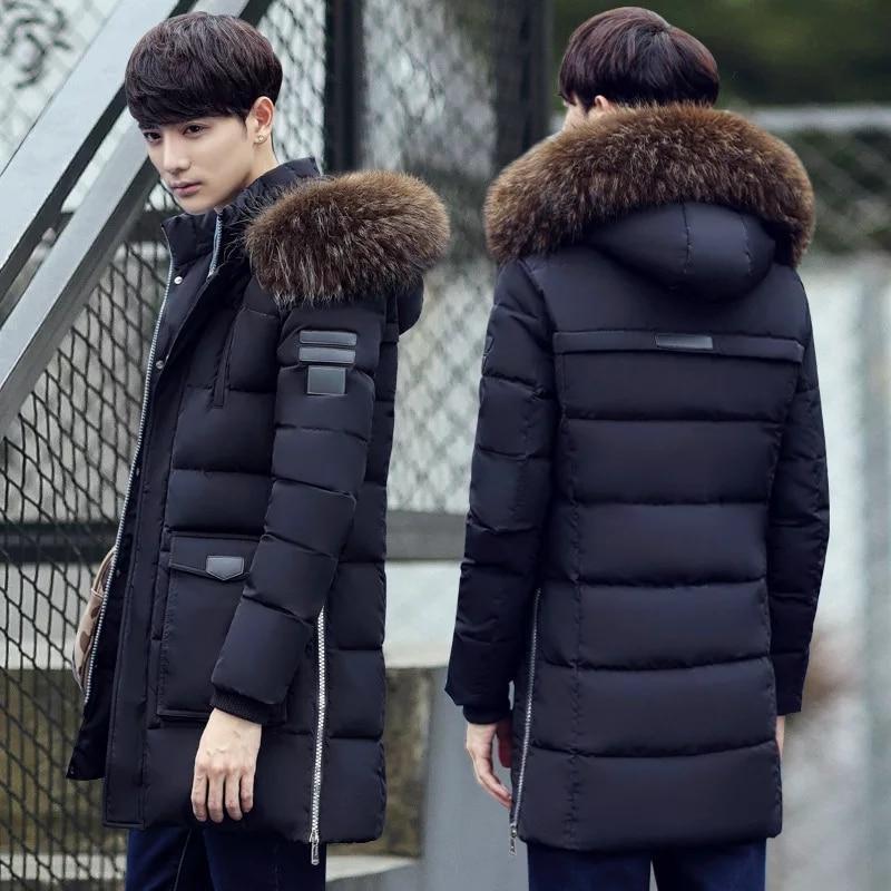 Parka Men's Coat Winter Jacket Men's Slim Thick Fur Hooded Coat Warm Medium Long Cotton Padded Jacket
