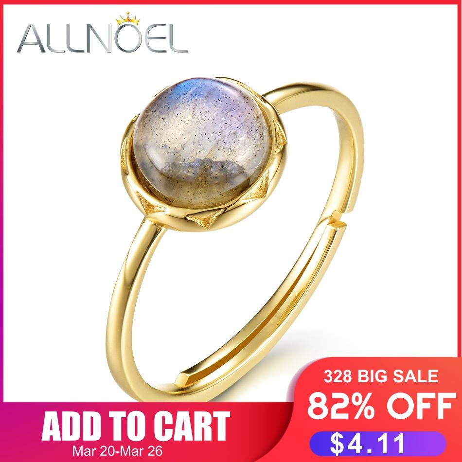 ALLNOEL 925 Sterling Silver Ring For Women 100% Natural Labradorite Gemstone 1.3ct Real Gold Wedding Engagement Fine Jewelry