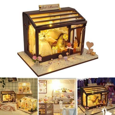 de madeira casa em miniatura edificios modelos