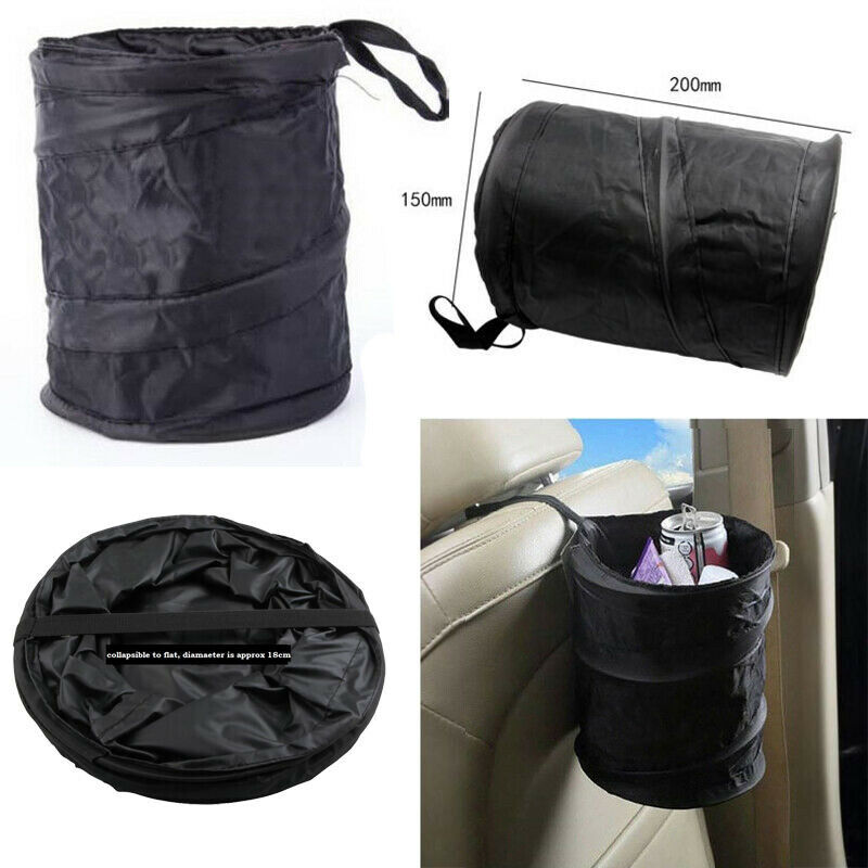 Hanging Car Bin Water Resistant Litter Waste Rubbish Boat Auto Trash Bag Black