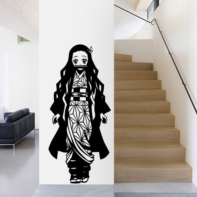 Demon Slayer Wall Decal Kimetsu no Yaiba Vinyl Kamado Nezuko Wall Stickers Decal Decor Home Decoration Anime Car Sticker