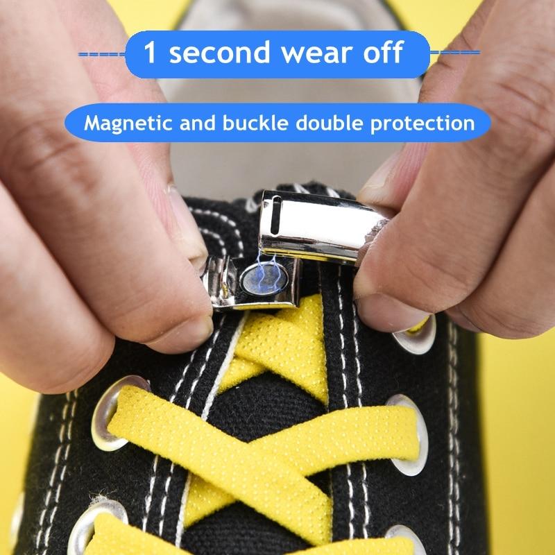 1Pair Magnetic Shoelaces Elastic Quick No Tie Shoe Laces Kids Adult Unisex Locking Shoelace Flat Sneaker Shoe Laces Strings