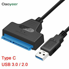 USB 3.0 2.0 SATA 3 Cable Sata to Adapter Support 2.5 Inches External HDD SSD Hard Drive 22Pin III Type C