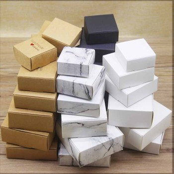 20pcs DIY HANDMADE Mutli size paper gifts boxes Marbling style candy wedding cake Package kraft home party suppiles box package - discount item  20% OFF Jewelry Packaging & Display