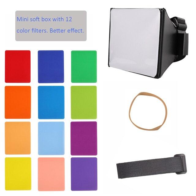 พับเก็บได้Mini Soft Box Flash Diffuser Softbox + 12PcsสีBalance GelสำหรับCanon/Nikon/Sony/Yongnuo EOS Speedlightแฟลช