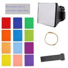 Mini dobrável Suave Box Flash Difusor Softbox + 12pcs Equilíbrio de Cor Gel Filtro Para Canon/Nikon/Sony/EOS Yongnuo Flash Speedlight