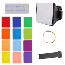 Składany Mini miękki Box Flash dyfuzor Softbox + 12 sztuk kolor balans żel filtr do Canon/Nikon/Sony/Yongnuo EOS lampa błyskowa Flash