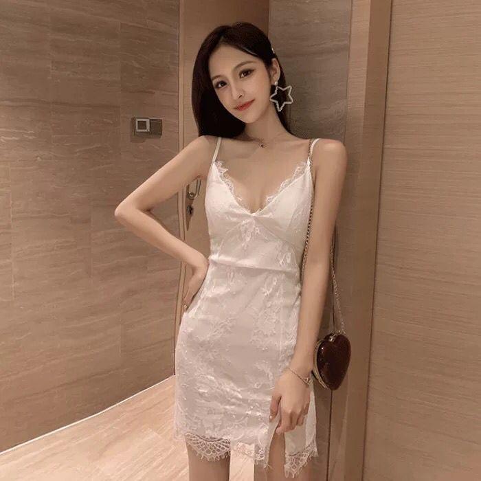 Новинка лета 2021, сексуальное кружевное платье с глубоким вырезом и V-образным вырезом, обтягивающее платье на бретелях
