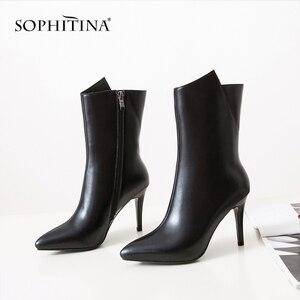 Image 5 - SOPHITINA סקסי דק העקב מגפי עור אמיתי באיכות גבוהה אופנה מחודדת הבוהן בעבודת יד חדש נעלי רוכסן נשים של מגפי PO282