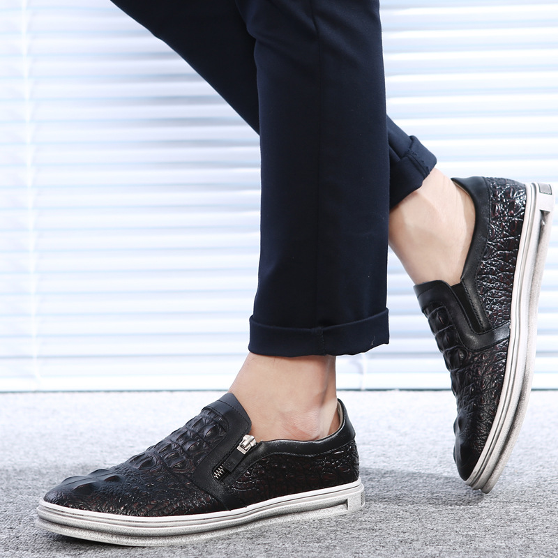 Nice Pop Men Shoes Crocodile Skin Pattern Men Leather Shoes Casual Shoes Slip On Loafers Fashion Business Shoes Zipper Openning
