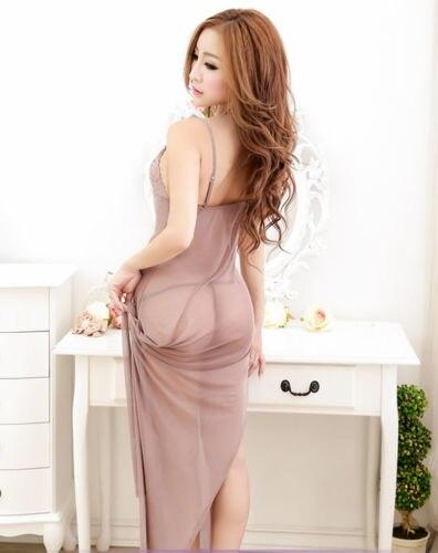 Elegant Sexy Hot Erotic Babydoll Sleeveless Transparent Sex Underwear Lace Lingerie Long Dress+G-string Lingeries One Size