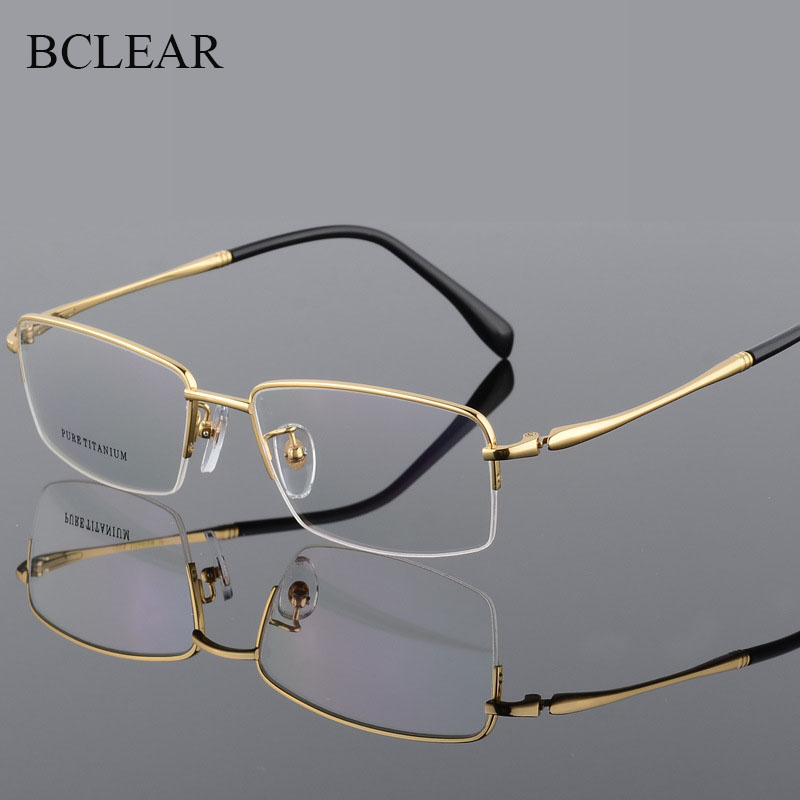BCLEAR Pure Titanium Spectacles Big Frame For Men Gold Silver Black Gray Width Face Optical Eyeglasses Frames Light Weight