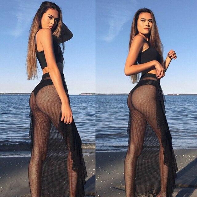 Women's Sexy See-Through Long Swimsuit Skirt Ladies Sexy Empire Sheer Mesh Skinny Sarong Bikini Cover up 6